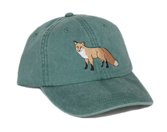 Fox embroidered hat, baseball cap, red fox cap, fox hat, dad hat, mom cap, wildlife, nature hat, animal, hunting, trucker cap, father's day