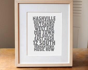Nashville Neighborhoods, Nashville Art, Nashville Poster, City Neighborhoods, Nashville TN