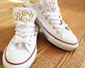 Women's Monogrammed Converse White/Pink/Navy/Charcoal