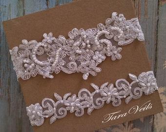 Wedding Garter Set,Bridal Garter light Silver,Bridal Light Silver Garter,Wedding Garter,Lace Garter,Garter Set Silver,garter set Silver