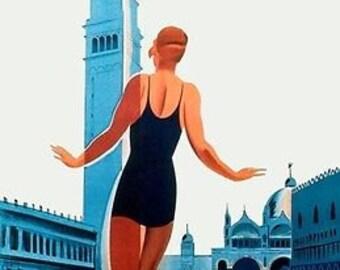 1930'S Italian Art Deco Venetian Venice Lido Swimming Poster A3 Reprint