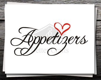 Appetizers Sign, Card, Shirt Decal, Cricut file, Silhouette file