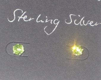 Peridot earrings, 5 mm Green Peridot gemstones in Sterling silver stud earrings, August birthstone
