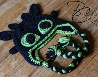 MADE TO ORDER Crochet Toothless Hat Crochet How to Train your Dragon Hat Crochet Dragon Hat Black and Lime Green Crochet Earflap Hat