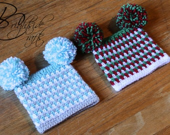 MADE TO ORDER Crochet Christmas Hat Crochet Holiday Hat Striped Double Pom Pom Hat Beanie Baby Toddler Child Hat Red Green Blue White Silver