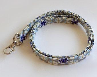 Hanukkah Lanyard / Jewish Keychain / Star of David / Key Lanyard / ID Badge Holder / Fabric Lanyard / Chanukah Lanyard / Ḥanukah Lanyard