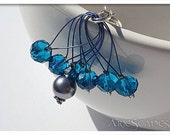 Stitch Markers - Blue Crystal and Grey