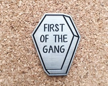 Morrissey 'First of the gang to die' coffin enamel pin