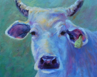 "White Brahma cow painting, cow art, painting on deep canvas edges finished,  animal painting,12""x12"", ready to hang, Annetta Gregory Art"