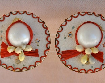 Vintage Hat Clip-On Earrings, Made in Germany