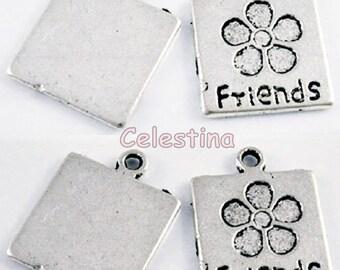 10 Antique Silver Friends Charms - Tibetan Pendant Beads - NF LF CF 17mm