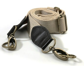 byhands Webbing Adjustable Cross Bag Strap with 100% Genuine Leather Tab/Bronze Style Ring  (44-1421)
