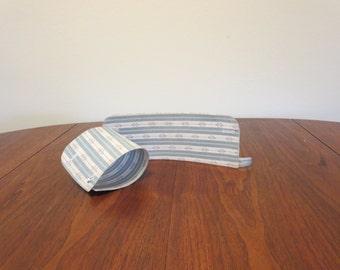 Vintage Edwardian 1900s celluloid French cuffs blue white stripe print cotton