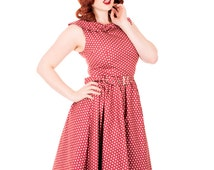 Red Polka Dot Dress Swing Vintage Retro UK Sizes 8/10/12/14/16/18/20