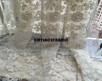 Cream white Organza embroidered white wavy edge lace fabric cotton lace fabric - 130 cm wide x 100 cm length - binf