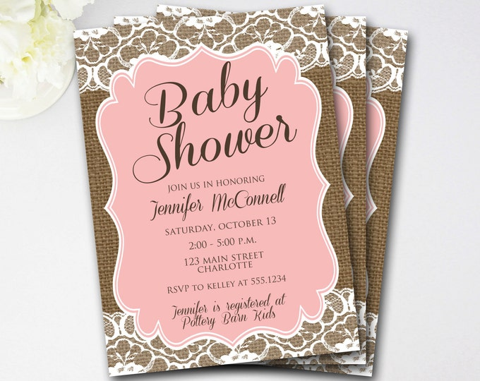 Lace Burlap Baby Shower Invitation, Rustic Baby Shower Invitation, Pink Baby Shower Invitation, Rustic Shower Invite, DIY Printable