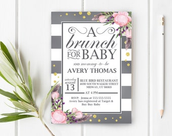 Brunch Baby Shower Invitation, Boho Brunch Baby Shower, Item 246,  Collection 123A
