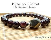 Success in Business // Energy Bracelet // Pyrite // Red Garnet Bracelet // Money // Wealth //  Lucky // Healing Garden Shop