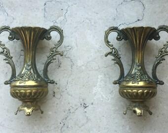 Ornate Little Brass Vases Vintage Made in Italy