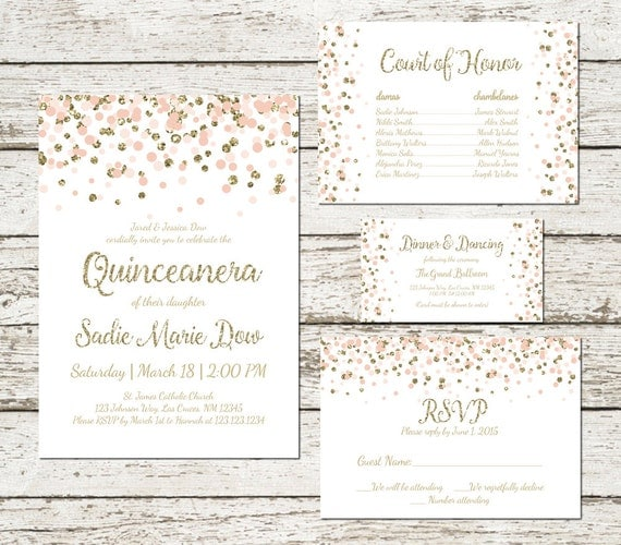 Blush Pink Gold Quinceanera Invitation Quince Anos Name