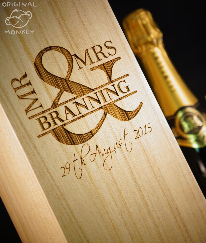Personalised Wedding Gift. Wine Box MR & MRS By OriginalMonkey