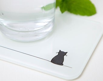 Sitting Cat Coasters, Set of 2, Recycled Glass, Gift for Cat Lovers, Contemporary Coasters with Cat Design