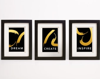 Inspirational Quote Print- Set of 3 - Dream. Create. Inspire.   Faux Gold