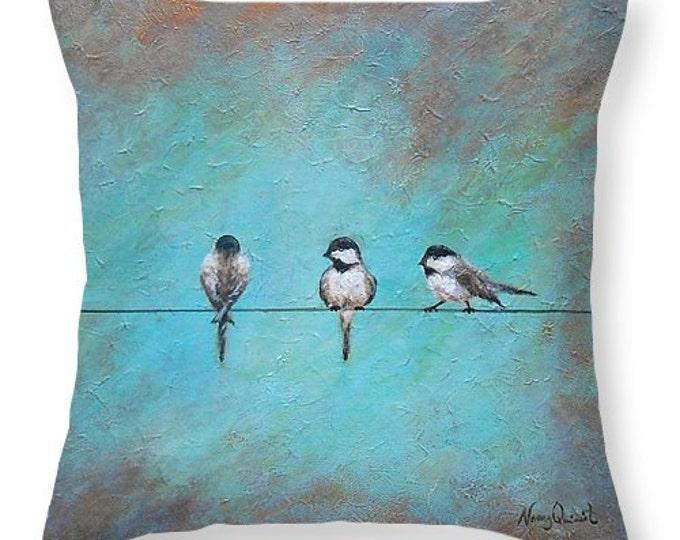 bird on a wire throw pillow,  teal blue silhouette bird pillow, rustic bird pillow, original painting by Nancy Quiaoit