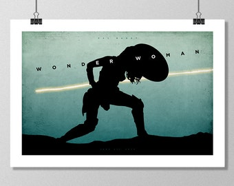WONDER WOMAN Movie Poster, Batman V Superman, Minimalist Movie Posters, Large Wall Art, College Student Gift Dorm Decor, Gift for Her, Vs