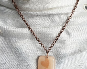 Heart Necklace in Pink Champagne Glass