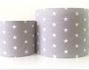 Lampshade Handmade Light Grey Star Fabric 20cm 30cm Drum Nursery