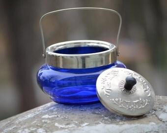 Cobalt blue sugar jar, vintage retro home decor, kitchen table silver,Cobalt blue Bowl, Silver Plated Basket, blue kitchen