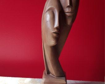 1961 Esco Brower ceramic statue lovers faces