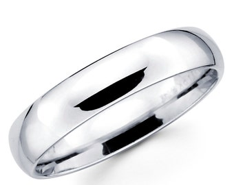 10K Solid White Gold 5mm Plain Wedding Band Ring