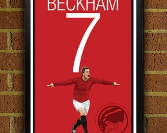 David Beckham Poster - Manchester United Soccer Poster, print, art, home decor, wall decor, red devils poster