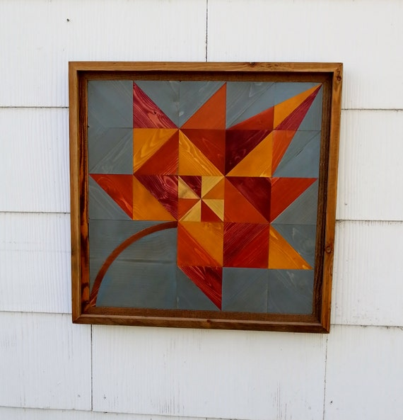 Handmade Barn Quilt Wood Mosaic Wall Hanging By