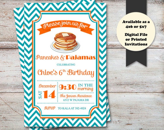 Pajamas and Pancakes Party Invitations Pancake Party Breakfast – Pancake Party Invitations