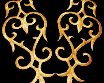 Gold embroidery fabric applique iron on patches Gold metallic patches  10X22CM