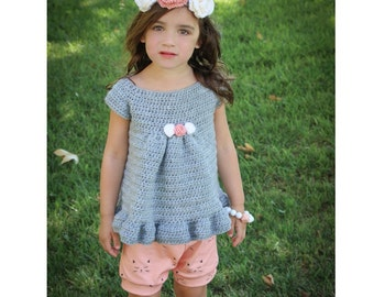 Crocheted top and headband, girl's top, flowered headband, girl's accessories, photos, girl's gift, girl's set