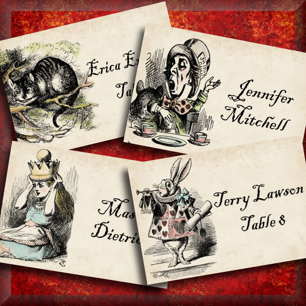 alice in wonderland printable flat place cards editable
