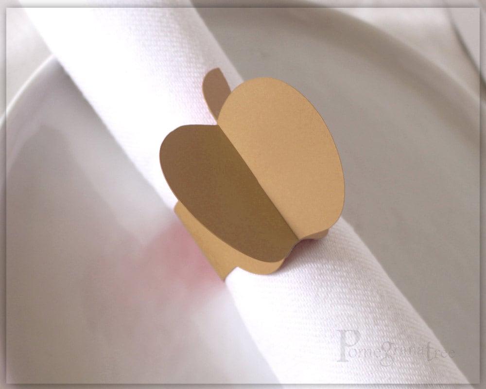 apple table decor paper napkin rings rosh hashanah table. Black Bedroom Furniture Sets. Home Design Ideas