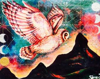 Large size hand painted wood print Pueo Hawaiian Owl Spirit medicine visionary art painting