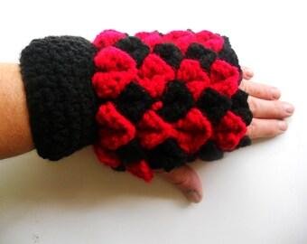 Harley Quinn Inspired Fingerless Gloves