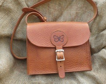 Leather shoulder bag, hand-stitched, with butterfly motif