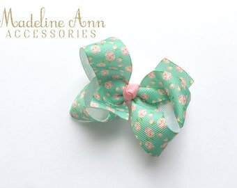 Spring Flowers Hair Bow Girls, Vintage Flower Print Ribbon, Non-Slip Hair Clip for Babies & Girls, Mint and Pink Toddler hair clips