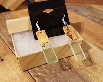 Maple Burl and Resin Earrings - #EGN016