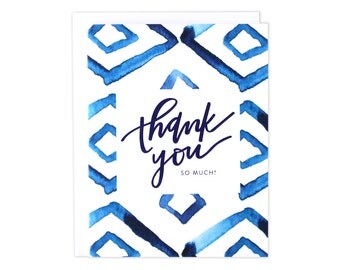 Indigo Watercolor Thank You Card, Indigo Thanks, Boxed Set of Thank You Cards, Boxed Set,  Thanks Card, Thank You Card, Thank You Card
