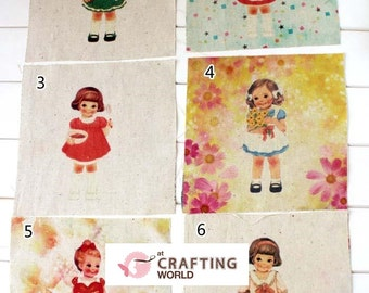 Cute 60's girl Fairies 6 Assorted Retro Print Linen Fabric Scrap Square Sewing