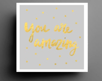 Gold Polka Dot You Are Amazing Typography Print