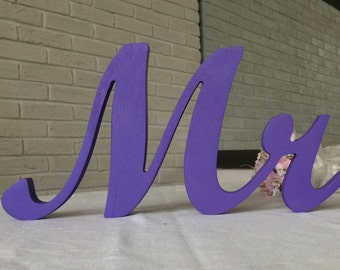 Purple Glitter wedding signs  Mr & Mrs wedding table decoration sweetheart table wedding sign